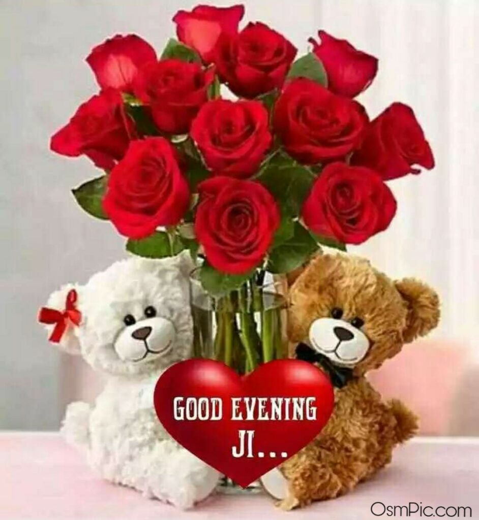 good evening red roses images for love