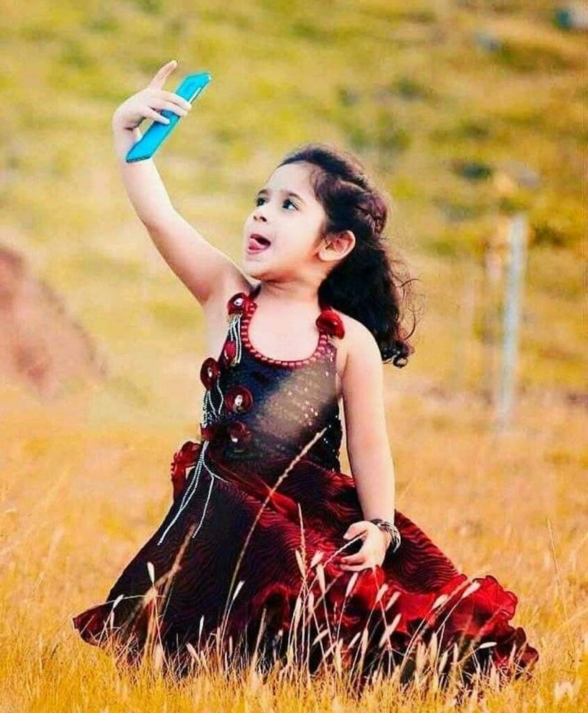 Sweet girl taking selfie picture