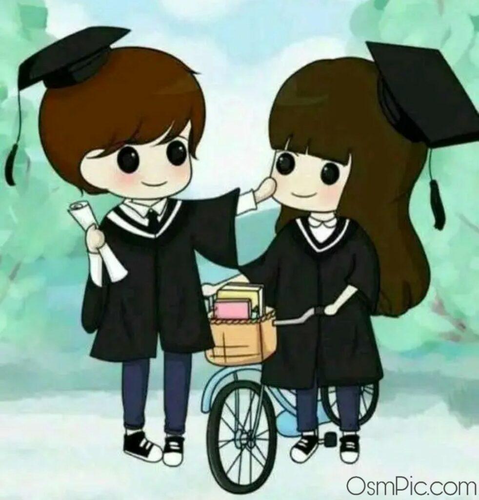Sweet cartoon couple love Whatsapp dp