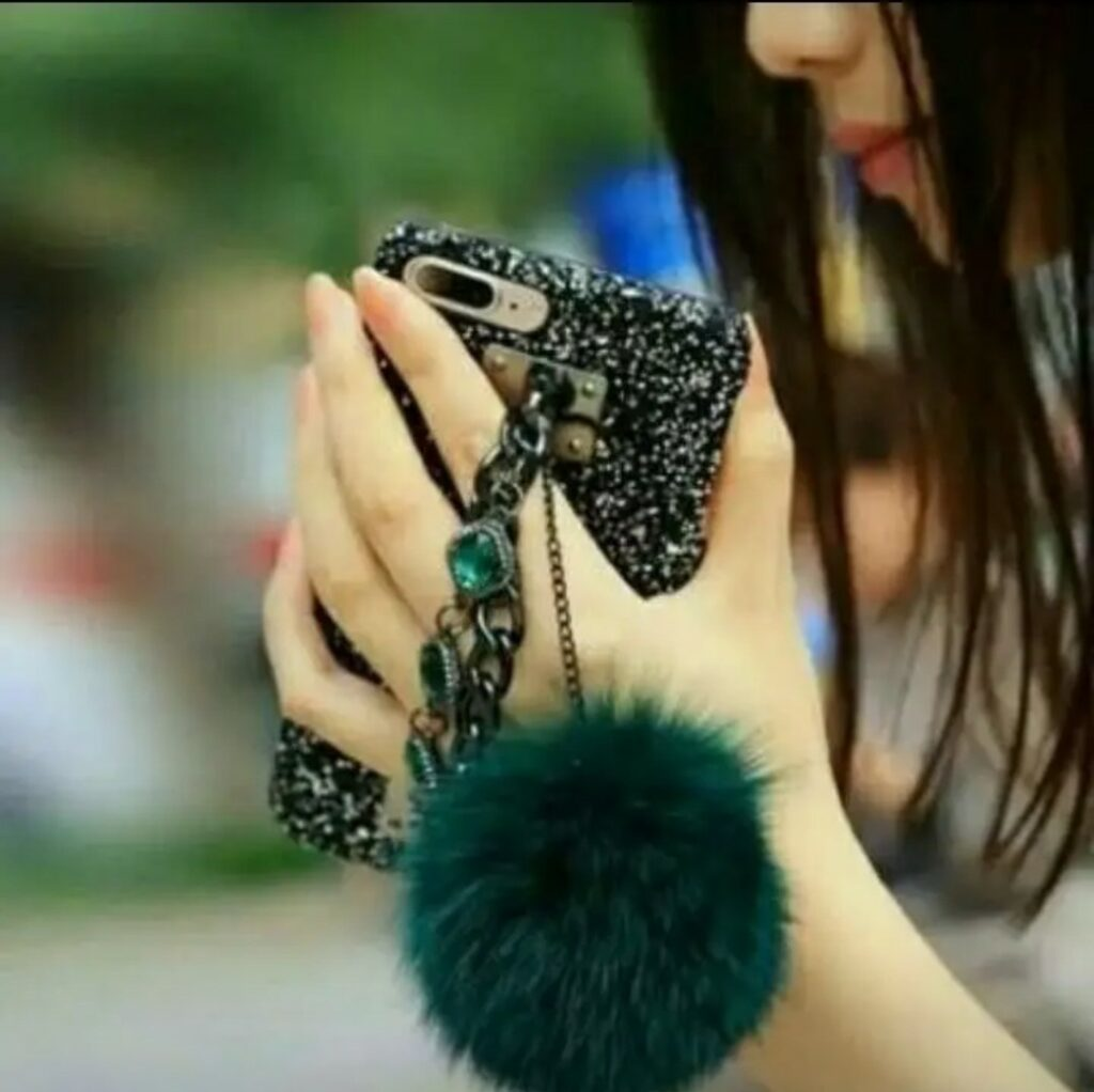 stylish girl having mobile in hand profile picture