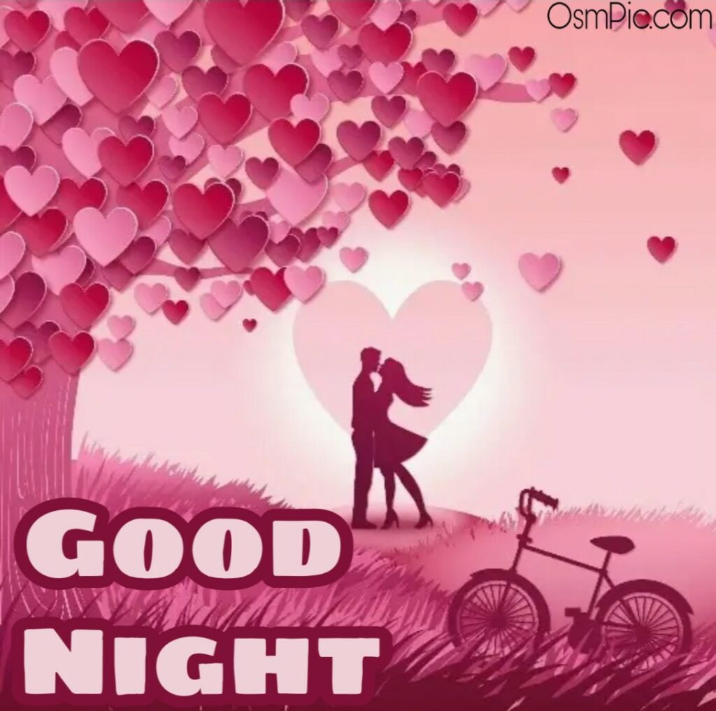 Romantic good night image with love couple kiss download