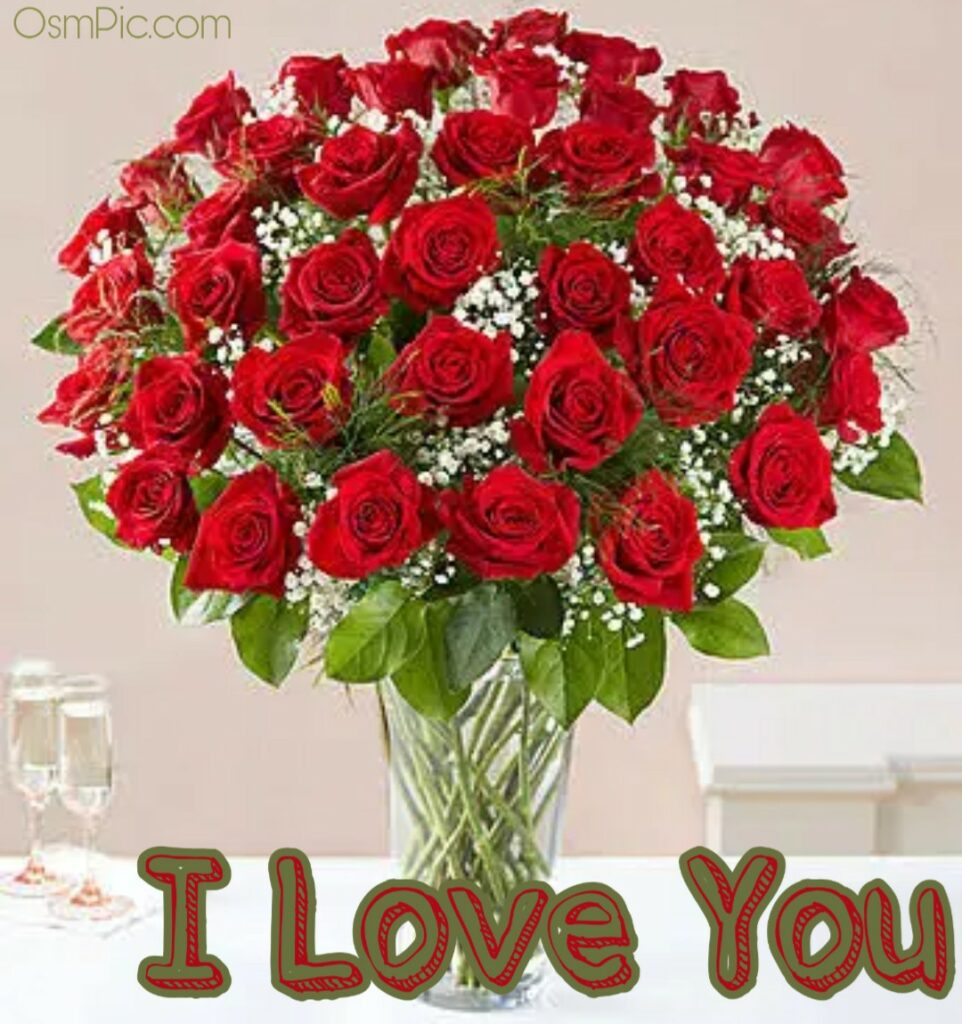 I love You images with roses bouquet
