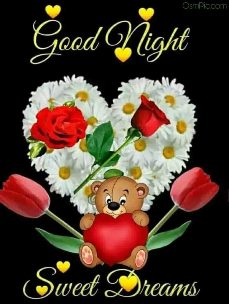 Good Night Image With Teddy bear and red rose