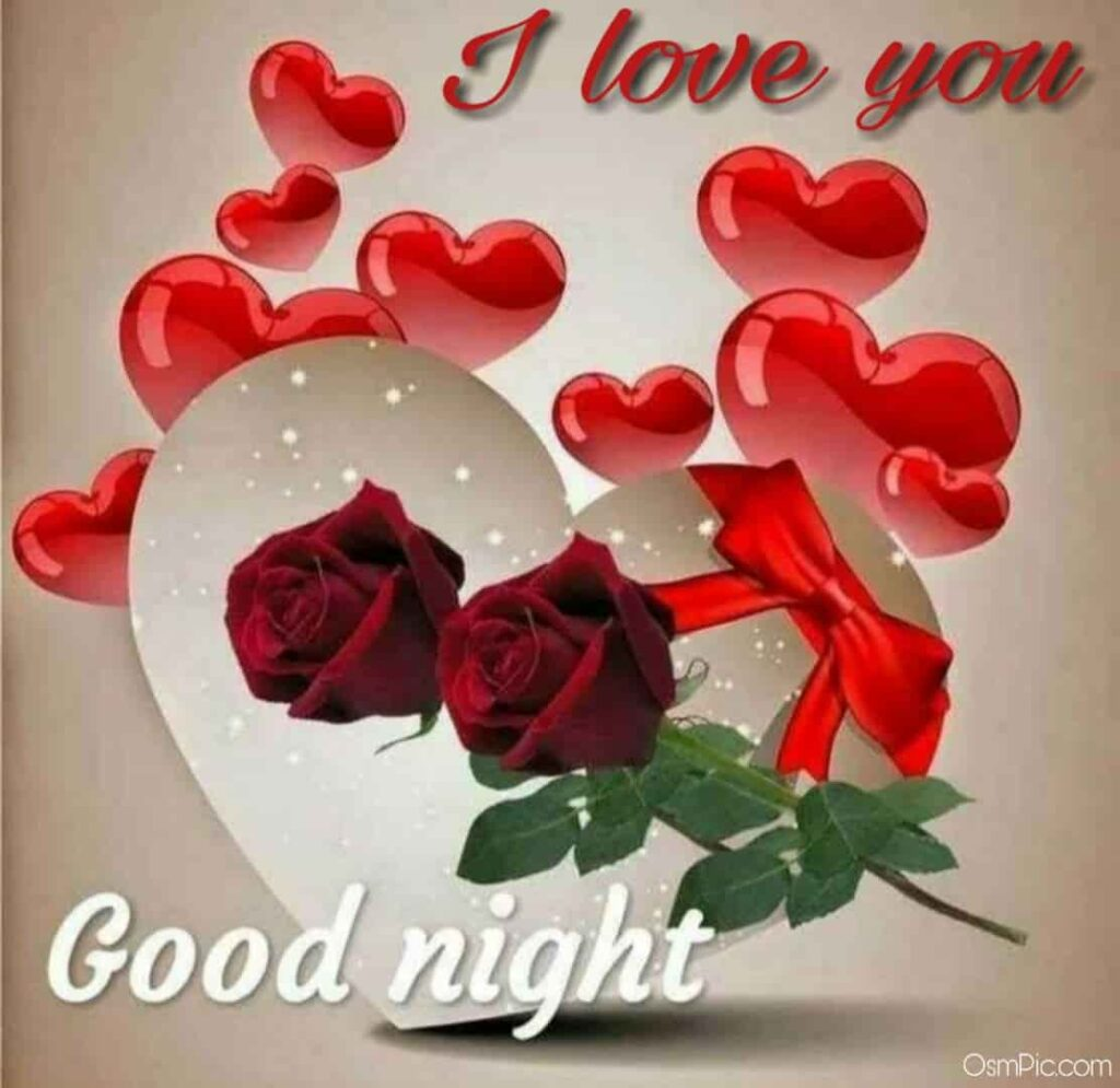 I love you good night photo download with red rose