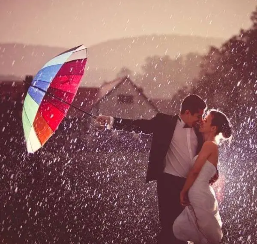 Romantic couple kissing in rain picture